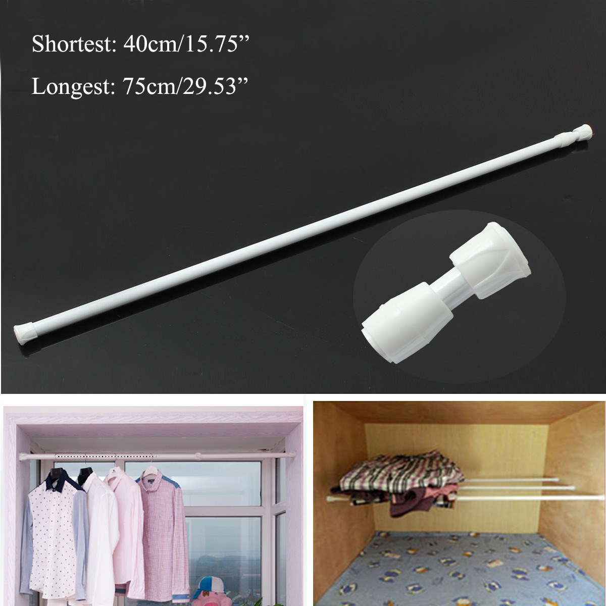 40 75cm Curtain Rod Adjustable Spring Loaded Bathroom Shower Tension  Extendable Telescopic Poles Rail Hanger In Hooks U0026 Rails From Home U0026 Garden  On ...