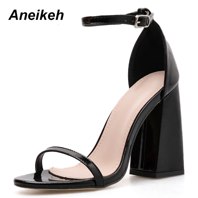 Aneikeh 2019 PU Summer Rome Sexy Sandals Fashion Solid Shallow Round Toe Square High Heel Buckle Green Black Cover Heel Size 40