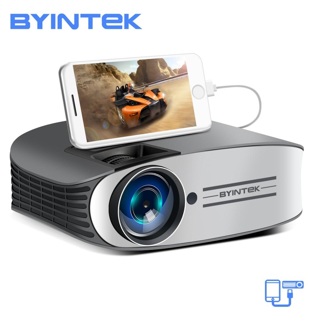BYINTEK marca Luna M7 200 pulgadas casa teatro HD Video láser proyector LED para Iphone teléfono móvil inteligente con Android Full HD 1080 p