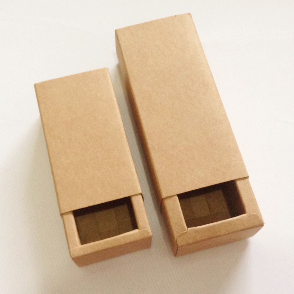 50pcs Kraft Darawer Box Paper Craft Power Gift Boxes Wedding Party Candy Packaging Cardboard Box Lipstick Match Boxes