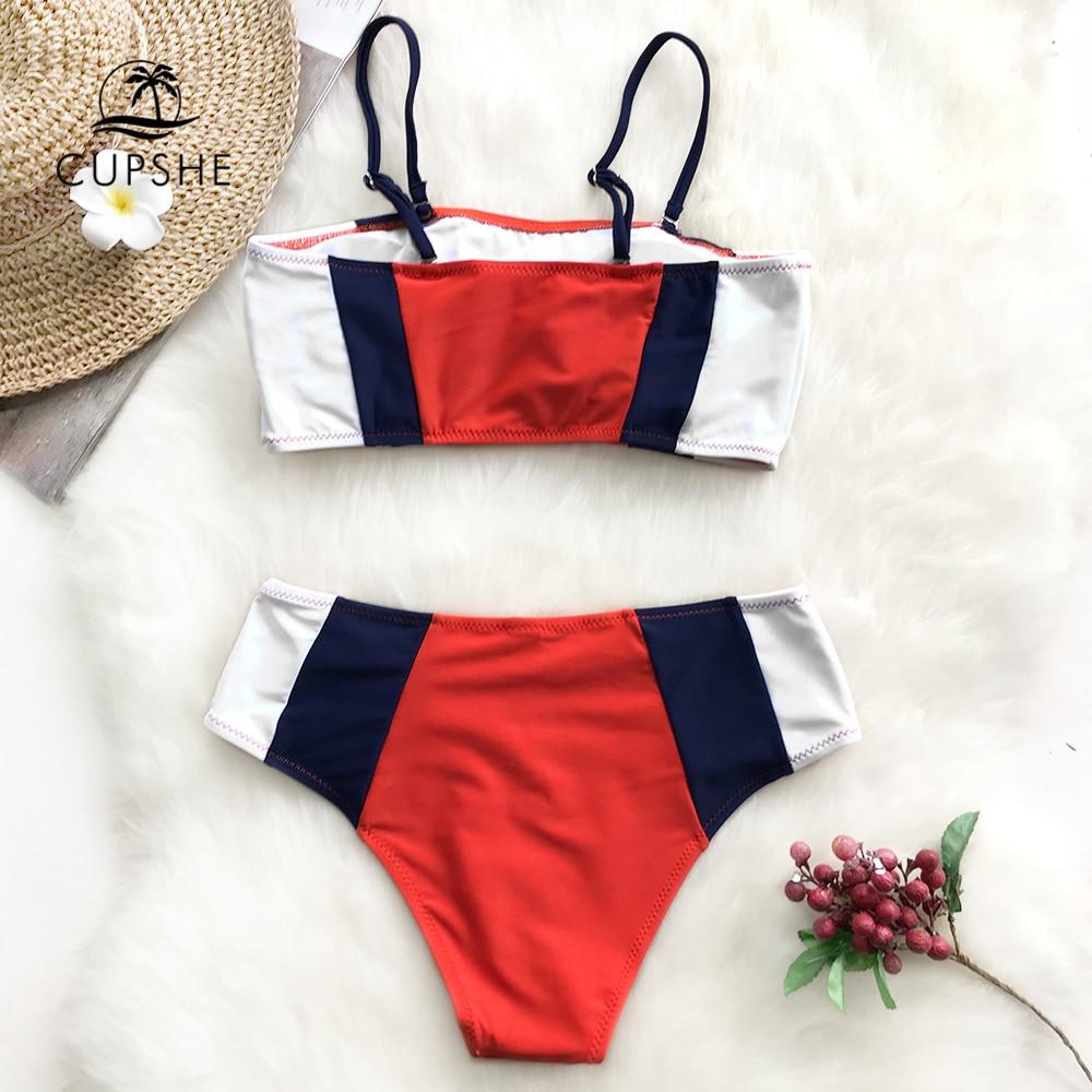CUPSHE Tricolor Bandeau Bikini Sets Women Patchwork Mid Waist Adjustable Two Pieces Swimwear 2019 Girl Beach Bathing Swimsuits