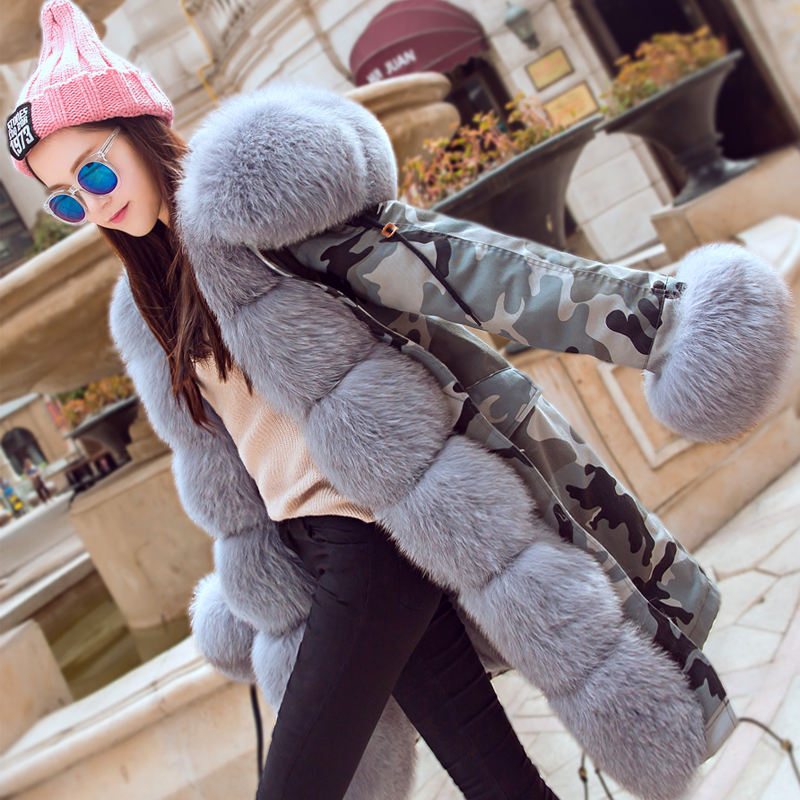 2017 new long Camouflage winter jacket women outwear rabbit fur lining natural real fox fur collar hooded coat parka real fur
