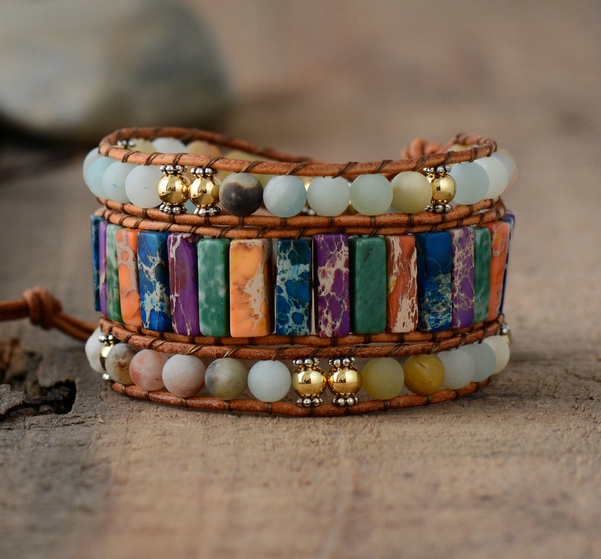 Us 11 01 15 Off Drop Shipping Boho Bracelets Shape Natural Stone 3 Layers Leather Wrap Women Statement Cuff In