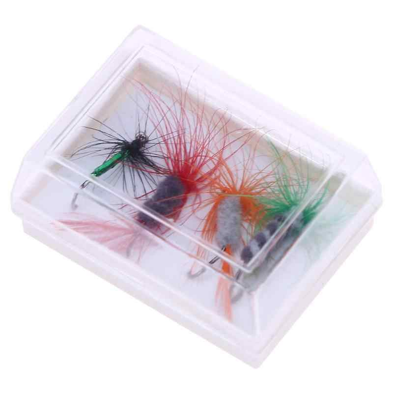 4pcs Insect Fly Style Fishing Lures Artificial Bait Feather Lures Fly Fishing Hooks Tackle with Fishing Case Box Pesca Lure