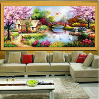2017 Inlaid Round Diamond Crafts New DIY 5D Diamond Paintings Garden Cottages Cross Stitch Suite