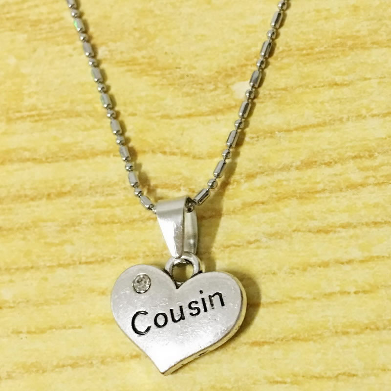 Crystal Heart Shaped Cousin Necklaces Friendship Best Special Cousin Jewelry Gift