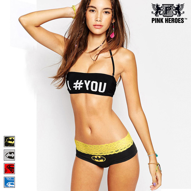 womens underwear sexy panties culotte femme Classic Cartoon Printing Couple Underwear Lace Triangle Female hero lady panty
