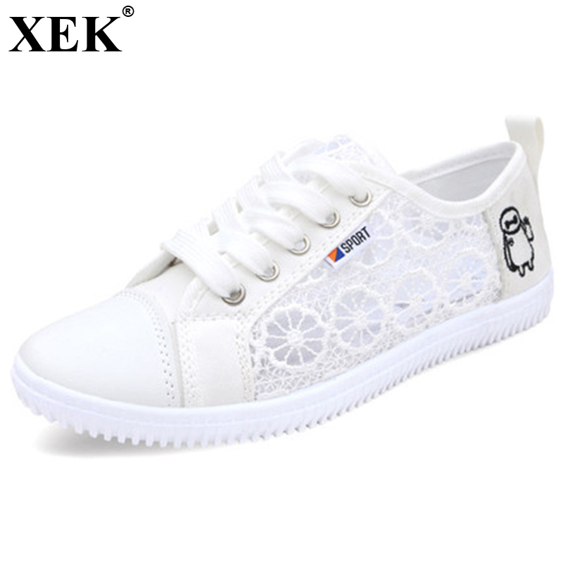 XEK 2018 New Fashion Summer Women Girls White Shoes Students Light Hollow Canvas Shoes Lace Flats Lady Casual Shoes JH161