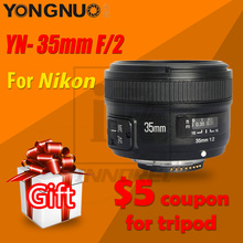 YONGNUO lente de enfoque fijo AF/MF para Nikon montura F, YN35mm, F2.0, F2N, gran angular, D7100, D3200, D3300, D3100, D5100, D90, cámara DSLR, 35mm