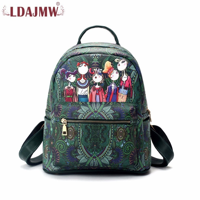 LDAJMW femmes sac à dos PU cuir sacs à dos vert forêt bande dessinée impression adolescents filles sacs d'école