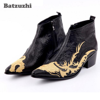 Italian Luxury Ankle Boots Men Pointed Toe Black Men Genuine Leather Boots Height Increased Embroidered Dragon Boots 6.5cm Heel