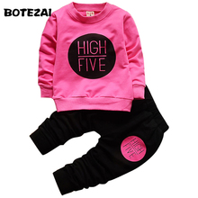 BOTEZAI 2017 Fashion baby girls clothing set 2pcs sport suit set spring autumn toddler kids girls clothes suit casual tracksuit