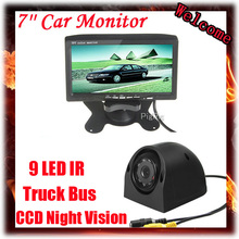 7 Inch Color Headrest Monitor With 2 Channels Video Input For Lorry Truck Bus Front view / Side / Rear view Reversing Camera 2pcs 11 8 inch car rear seat entertainment video monitors for range rover 2017 headrest monitor android 7 1 system