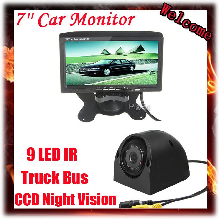 7 Inch Color Headrest Monitor With 2 Channels Video Input For Lorry Truck Bus Front view / Side / Rear view Reversing Camera