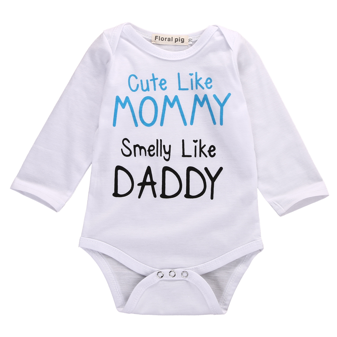 9199213b Cute Newborn Infant Baby Boy Girl Mom Dad Long Sleeve Romper Toddler Cotton  Jumpsuit Newborn Clothes-in Rompers from Mother & Kids on Aliexpress.com ...