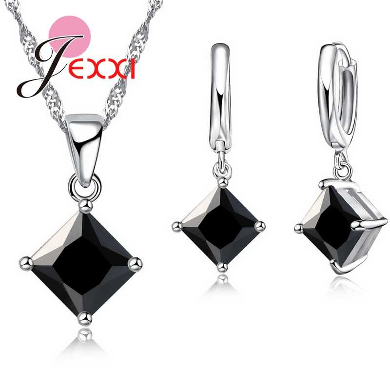 8 Colors 925 Sterling Silver Women Wedding Beautiful Pendant Necklace Earrings Set Clearly Square Crystal Jewelry Sets