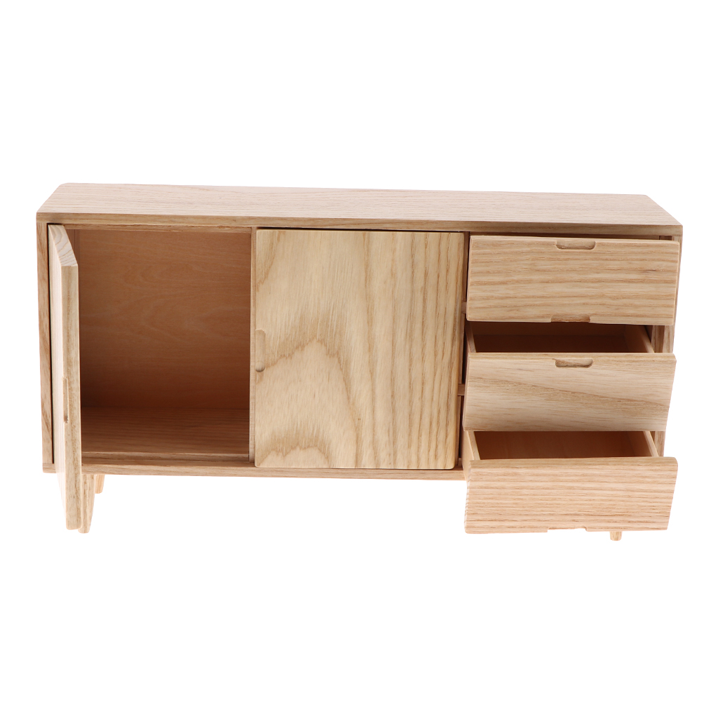 1/6 Dollhouse Living Room Furniture Modern Styled Wooden TV Stand Cabinet Bench1/6 Dollhouse Living Room Furniture Modern Styled Wooden TV Stand Cabinet Bench