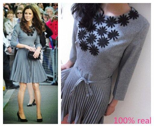2015 Princess Kate Middleton Same Style Brand Handwork Stick Flower Long Sleeve Dress Summer