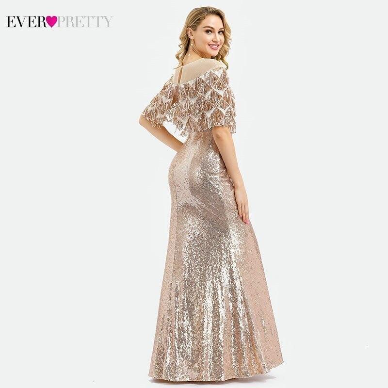 Ever Pretty arabie saoudite luxe sirène robes de bal Long col rond paillettes gland avec veste Sexy soirée robe Gala Jurken - 3