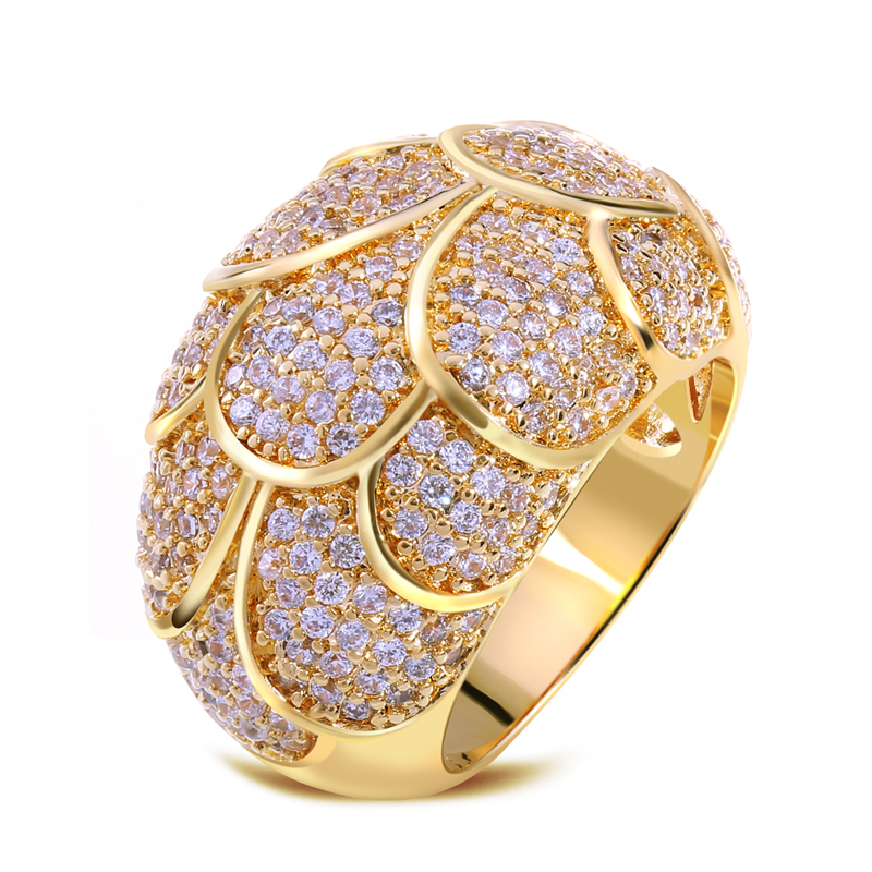 Brand rings Ladies Copper Ring gold plated with Cubic zircon Rings ...