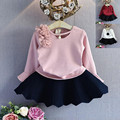 Toddler Children Clothing England Style Baby Girls T-shirt Fashion Soild Princess Top Lace Shoulder Trumpet Sleeve Girls T-shirt