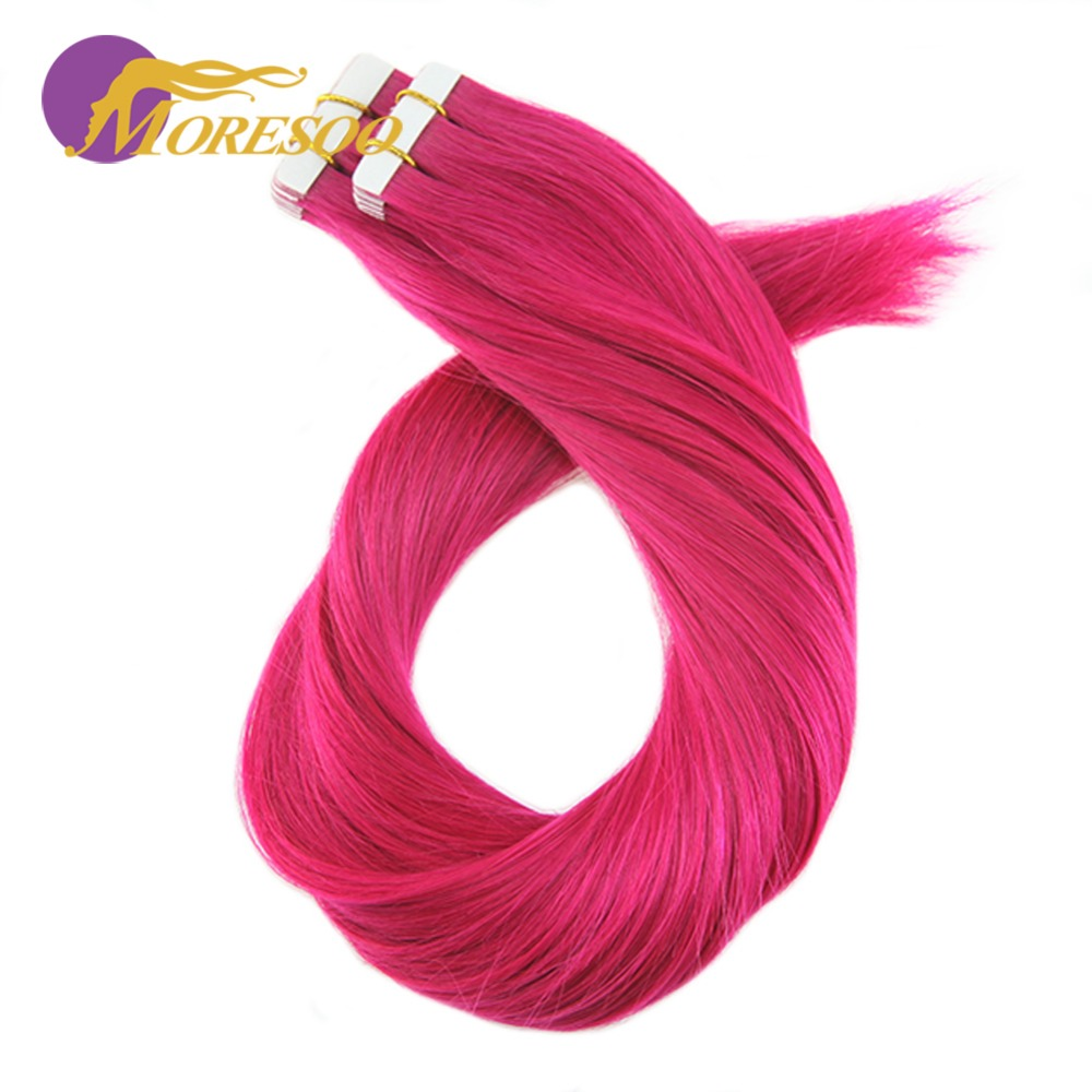 Moresoo 25g/10pcs Colorful Tape In Hair Extensions 100% Remy Human Hair Seamless Tape In Full Head Hair Extensions For Woman ...