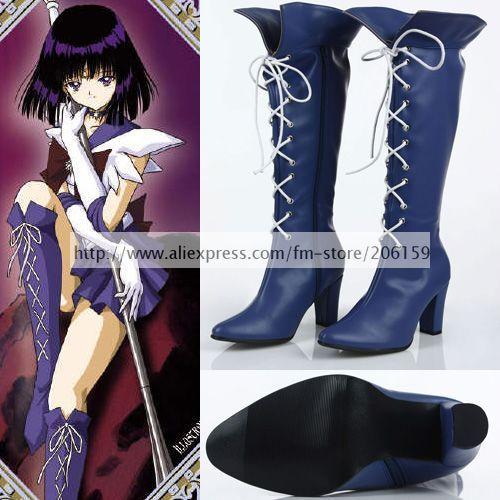 Sailor Moon Sailor Saturn Hotaru Tomoe Cosplay Zapatos de Tacón Bombas Zapatos de La Señora Boots