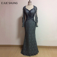 E JUE SHUNG Grey Lace Beaded Mermaid Evening Dresses 2016 Long Sleeves Mother Of The Bride