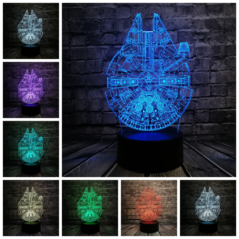 Star Wars Millennium Falcon 3D LED Lamp Cool Boy Bedroom Night Light Trek Decor Bulbing Kids Toys Child Gift Luminaria Gadget avengers hulk led night light 3d lamp luminaria de mesa lighting toy kids room led usb electronic gadget home decor bed light