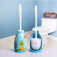 New creative sea world tropical fish resin long handle bathroom cleaning brush holder set for toilet cleaning toilet brush with