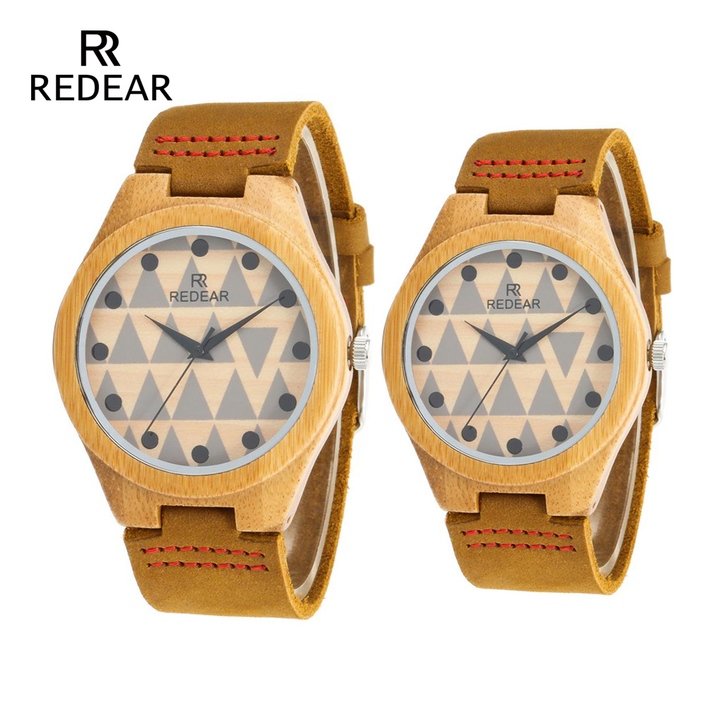 REDEAR Bamboo Belt mens watches Lover's Watches Green and Healthy ladies watch Handmade Love Gift Wooden Watches Quartz Watch