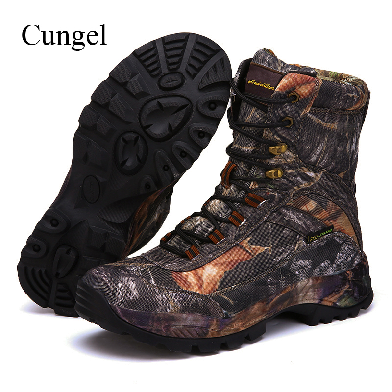 Cungel Outdoor Hiking Shoes Men Camouflage Boots Autumn/Winter Army Tactical Military Combat Boots Waterproof Nylon Anti-skid