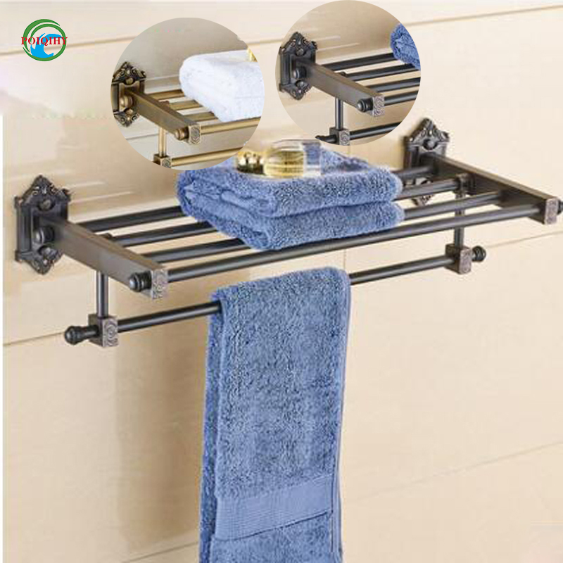 Wholesale and retail fashion towel rack towel bar antique brass or orb towel rack euro style bathroom accessories retail aluminium towel bar