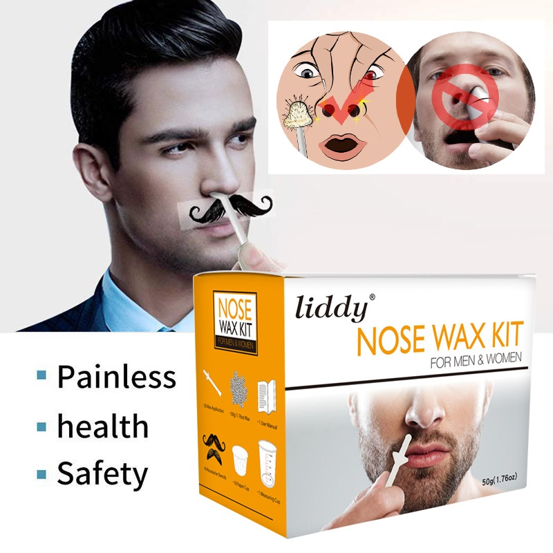 Drop Ship 50g Wax Kit Men/Women Painless Beads For Nose Ear Wax Kit Measuring Cup Moustache Stencils Hair Removal Cosmetic TSLM1