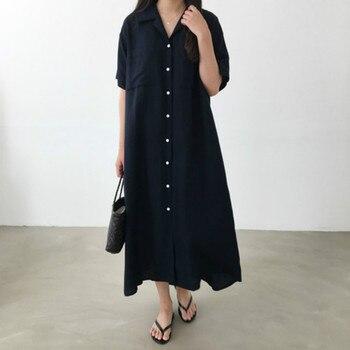 Las mujeres verano largo vestido de camisa doble Breasted Vestidos de gran tamaño Casual traje Longue Femme Ete Sukienki Sommerkleid vestido