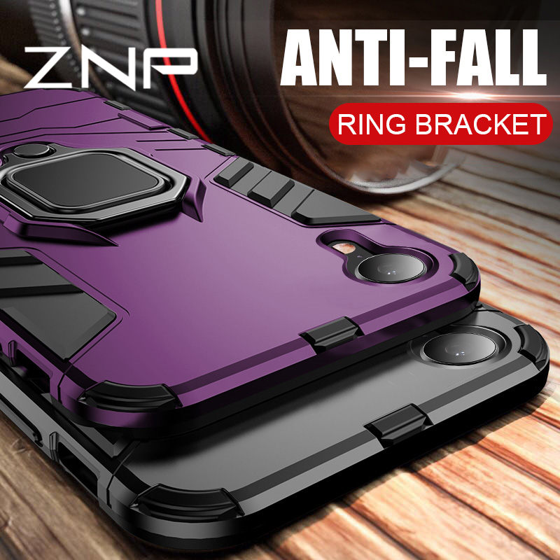 ZNP Luxury Armor Phone Case For IPhone 6 6s 7 8 Plus X 10 Shockproof Cover For IPhone X XS Max XR 5 5s SE Case With Holder Ring