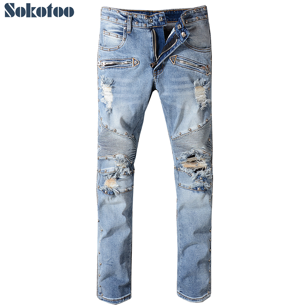 Sokotoo Men's rivet medium blue ripped biker   jeans   for moto Plus size slim straight distressed stretch denim pants