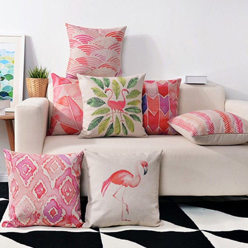 Animal Style Flamingo Cushion Cover Feather Drawing Geometry Cotton Linen Throw Pillow Case Birds Pillow Covers Couple Gifts