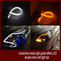 2PCS Super bright 60cm dual color LED Tear Light LED Flexible Day Time Running Light,Car Tear Strip White DRL Yellow turn signal
