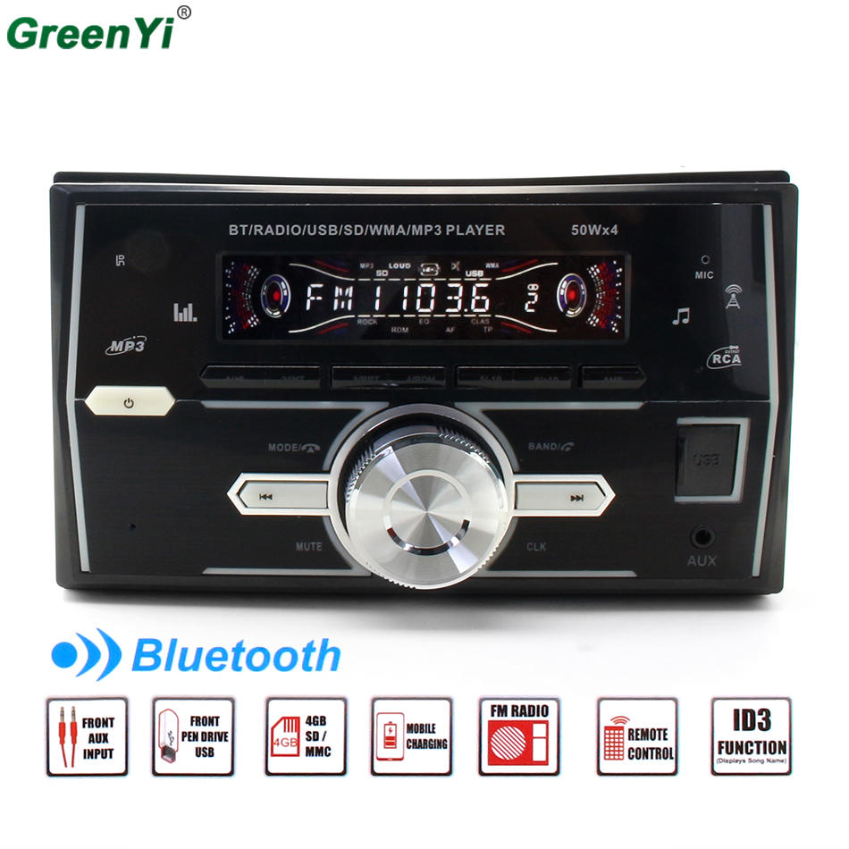 GreenYi Bluetooth Car Stereo Radio MP3 Player Support BT/FM/USB/SD Remote Control 1din Autoradio Hands-free Call Time Display bt 760 bluetooth fm transmitter car kit mp3 player support mic call