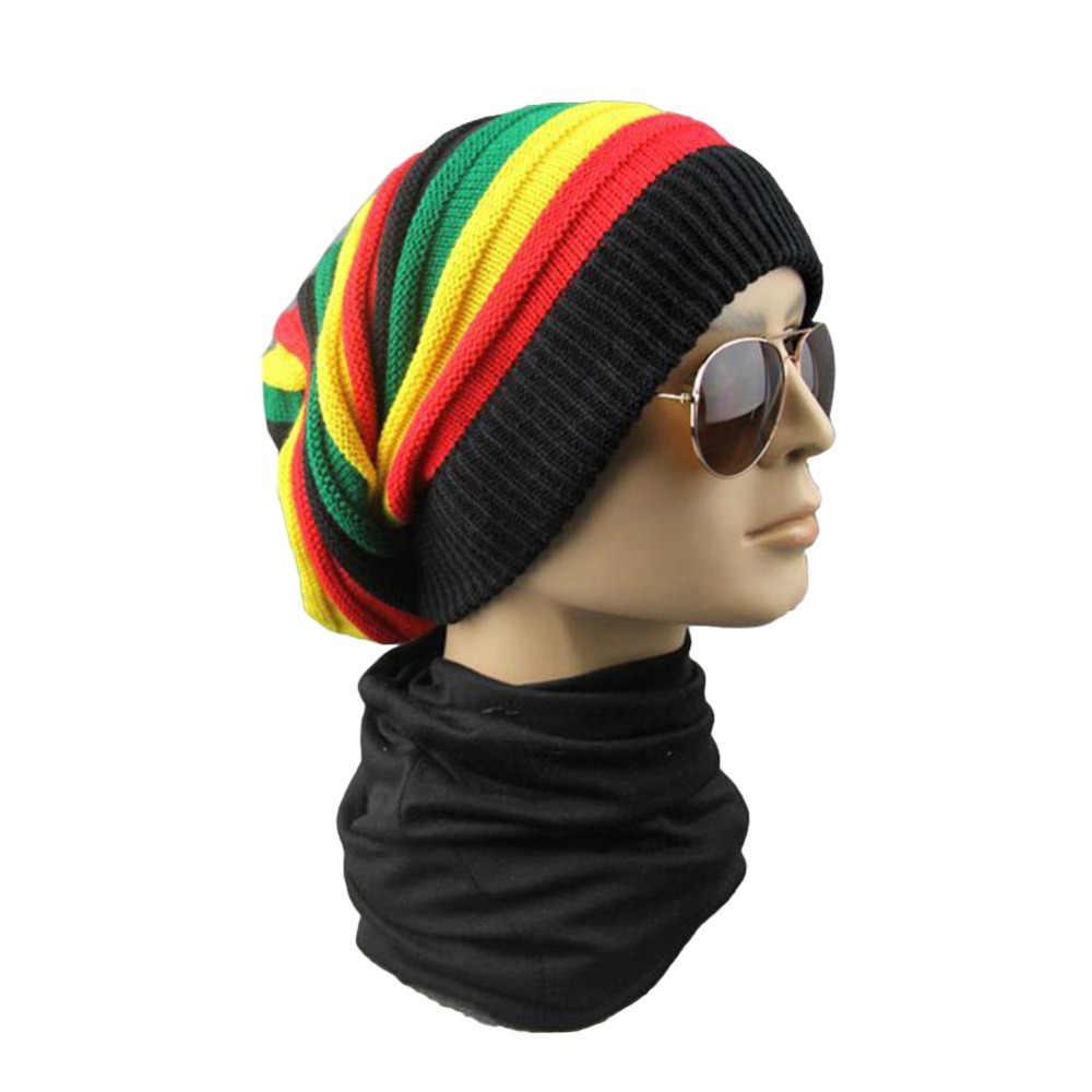 a0a767ae66d ... Winter Hip Hop Bob cap Rasta Reggae Hat Multi-colour Skull Striped  Crochet Beanie Hats ...