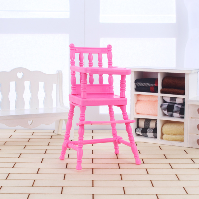Doll accessories furnitures baby child safety chair pretend play toys decoration dollhouse miniature chairs pink plastic lovely