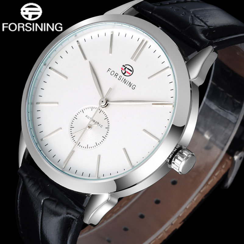 FORSINING Fashion Brand Men Mechanical Watches Genuine Leather Strap Luxury Business Men'S Silver Case Watches Relogio Masculino 2016 winner autoamtic mechanical men watches fashion classic silver case skeletondial real leather strap relogio feminino
