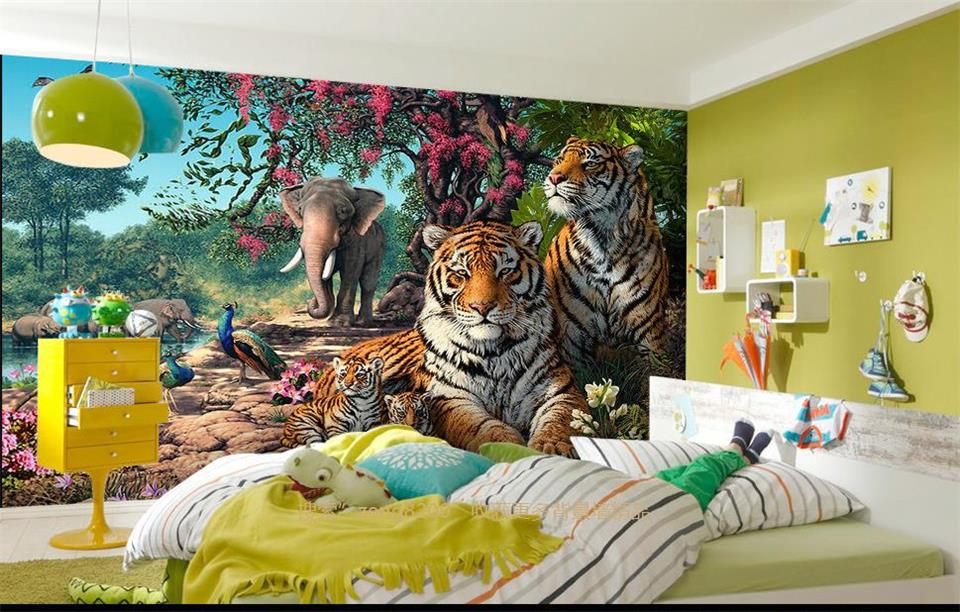 Custom 3D Photo Wallpaper Kids Room Mural Tiger Family Oil Painting 3D Photo Bedroom Sofa TV Background Wall Non-Woven Wallpaper 3d wallpaper custom mural non woven 3d room wallpaper black and white circle line 3 d painting photo 3d wall murals wallpaper