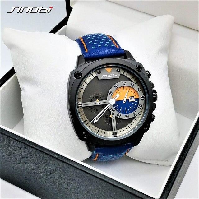 SINOBI Herren Uhren Top Luxus Marke Wasserdicht Sport Armbanduhr Chronograph Quarz Military Echtes Leder Relogio Masculino