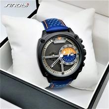 Sinobi メンズ腕時計トップの高級ブランド防水スポーツ腕時計クロノグラフクォーツ軍事本革レロジオ masculino