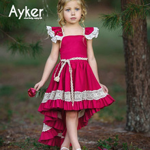 Girl Dress Party Red Wedding Princess Dress Kids Girl Clothes Children Flying Sleeve Summer Kids Long Dresses for Girls girl dresses new surprise cartoon pattern flying sleeve big eye doll children s dress
