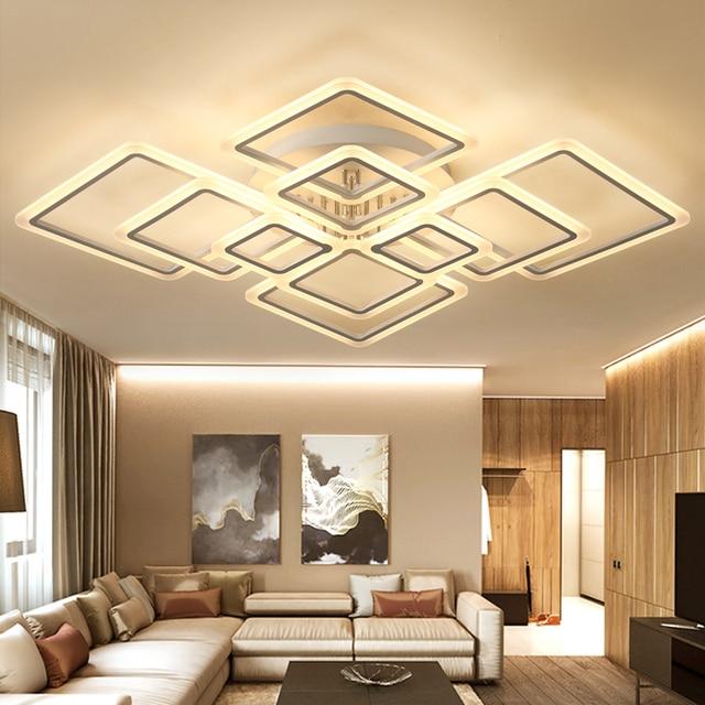 new designs square ring chandelier lighting modern led lustre de plafond moderne creative home. Black Bedroom Furniture Sets. Home Design Ideas