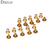 New Arrival 50pcs 5mm LeathercraftPure Brass Belt Screw Rivet Round Head Button Chicago Screw In Button