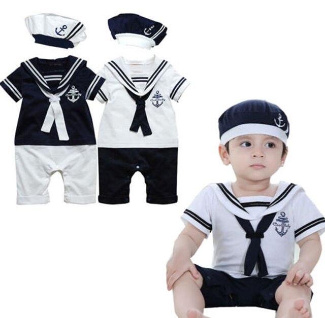 52bbb71fd 2pcs Baby boy kids costume clothing navy sailor captain romper jumpsuits+Hat  Cotton Newborn short